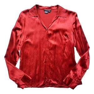 Blood Red Silk Blouse